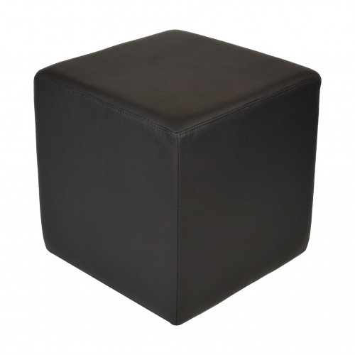 Puff Cubo em couro Preto Perfurado (Premium)