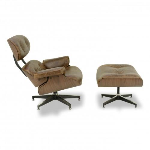 Poltrona Charles Eames com Puff em Couro Natural Pinhão