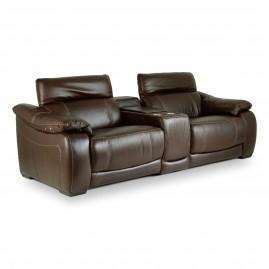 Sofá Reclinável Elétrico Corby U076 com 2 lugares + porta copo em Couro Legítimo - Idea Relax