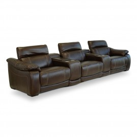 Sofá Reclinável Elétrico Corby U076 com 3 lugares + porta copo em Couro Legítimo - Idea Relax