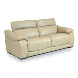Sofá Reclinável Elétrico Corby U076 com 2 lugares em couro Legítimo Bege - Idea Relax