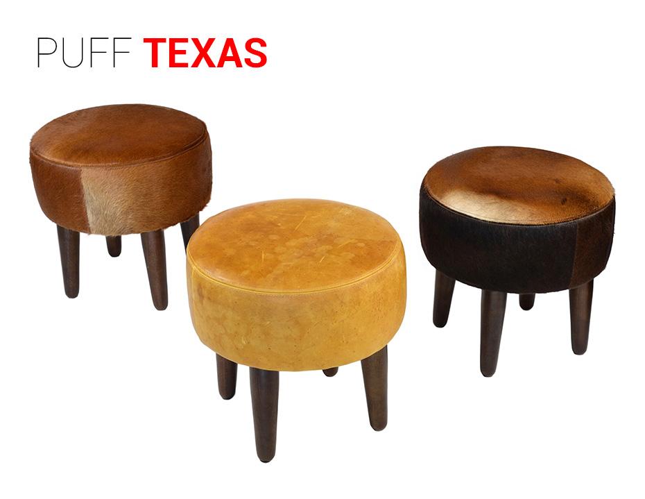 Puff Texas em couro